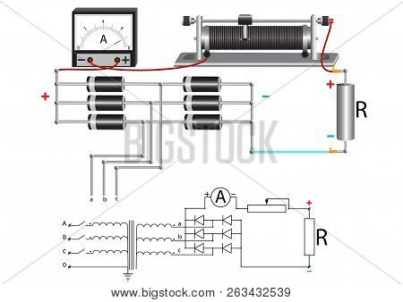 A Power Unit That Uses A Three-phase Step-down Voltage Transformer, A Diode Bridge And A Rheostat To