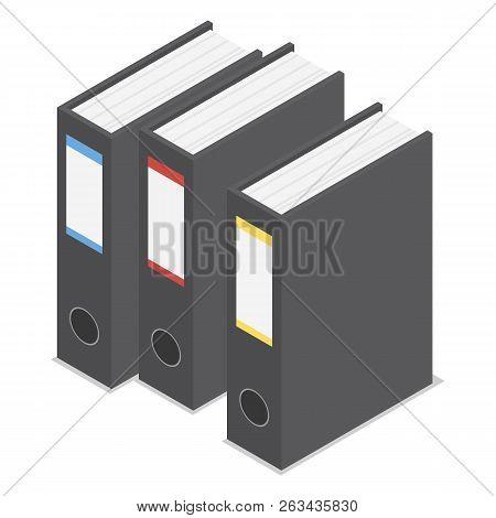 Black Office Folder Icon Set. Isometric Set Of Black Office Folder Vector Icons For Web Design Isola