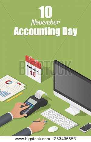 November Accounting Day Concept Background. Isometric Illustration Of November Accounting Day Vector