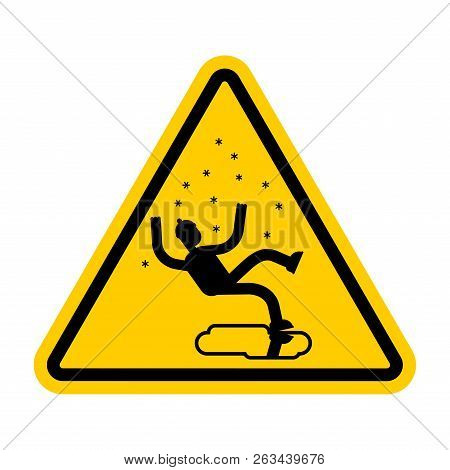 Attention Slippery Ice Road In Winter. Caution Slip On Ice. Yellow Road Danger Sign