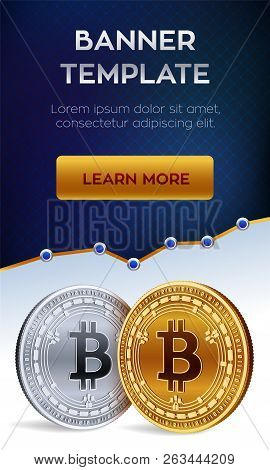 Cryptocurrency Editable Banner Template. Bitcoin Cash. 3d Isometric Physical Bit Coin. Golden And Si