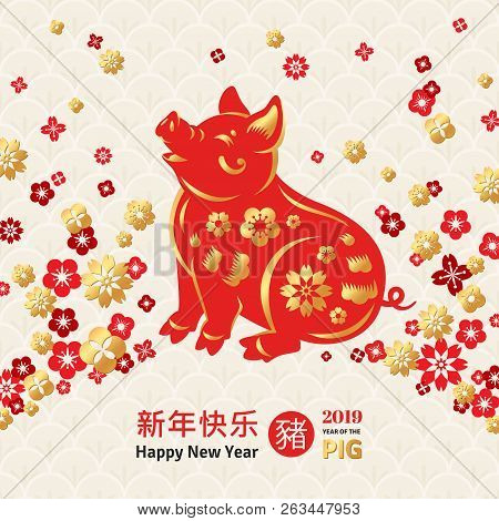 chinese symbol for 2019 vector illustration zodiac sign boar in gold and red colors flowers border frame on ornate background