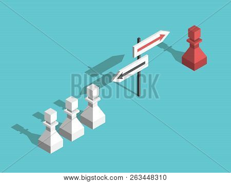 Isometric Red Unique Chess Pawn Choosing Its Own Different Direction And Many White Ones. Uniqueness
