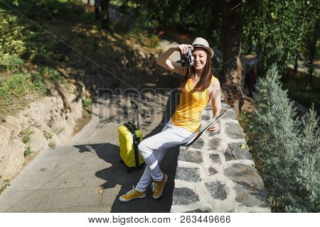 Laughing Traveler Tourist Woman In Hat With Suitcase City Map Take Picture On Retro Vintage Photo Ca