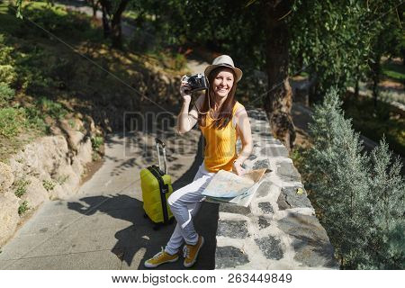 Happy Traveler Tourist Woman In Hat With Suitcase, City Map Take Pictures On Retro Vintage Photo Cam