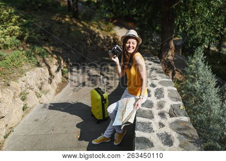 Laughing Traveler Tourist Woman In Casual Clothes Hat With Suitcase City Map Holding Retro Vintage P