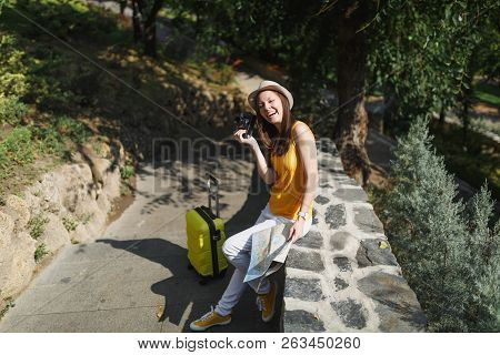 Joyful Traveler Tourist Woman In Casual Clothes, Hat With Suitcase, City Map Holding Retro Vintage P