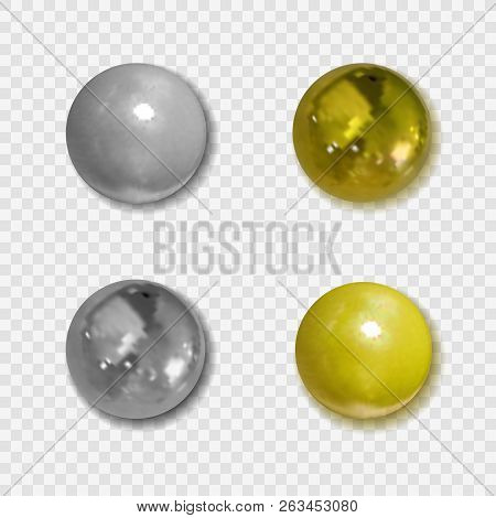 Vector Realistic Golden And Silver Pin Buttons With Shadows On Transparent Background, Clipart Metal
