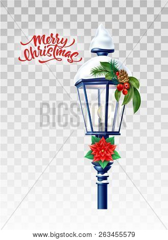 Vector Realistic Streetlight With Snowcap New Year