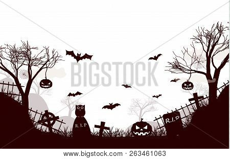 Traditional Halloween Night Background Poster With Two Dead Trees, Pipistrelles, Cemetery Crosses, F