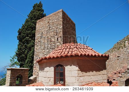 The Byzantine period monastery of Agios Panteleimon on the Greek island of Tilos. The monastery dates from circa 1470.