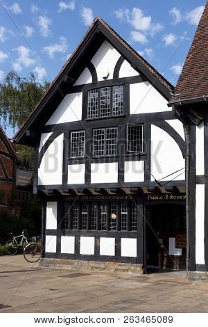 Stratford-upon-Avon's public library and registration service office, in a Tudor-style building close to Shakespeare's birthplace