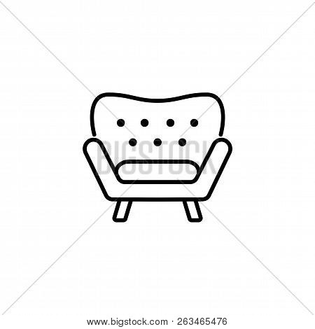 Black & White Vector Illustration Of Comfortable Armchair With High Back. Line Icon Of Arm Chair Sea