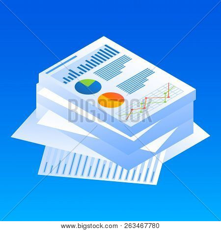 Finance Graph Paper Icon. Isometric Of Finance Graph Paper Vector Icon For Web Design Isolated
