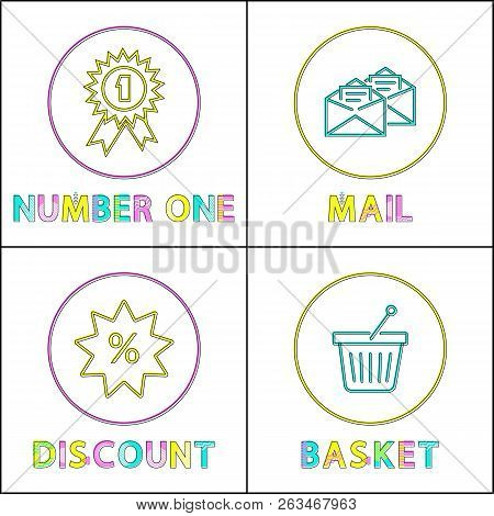 Shopping Icons For E-commerce And Online Store In Minimalistic Outline Style. Discount And Best Sell