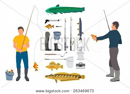 Full Length Angler Model Illustration With Fishing Tackle In Hand And Catch. Fisherman Clothes And T