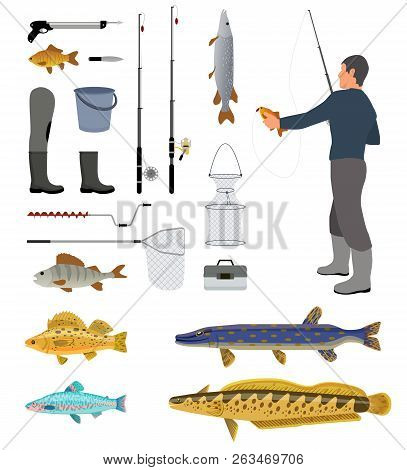 Fishing Equipment And Fisher With Haul Banner, Isolated On White Backdrop Vector Illustration Of Rod
