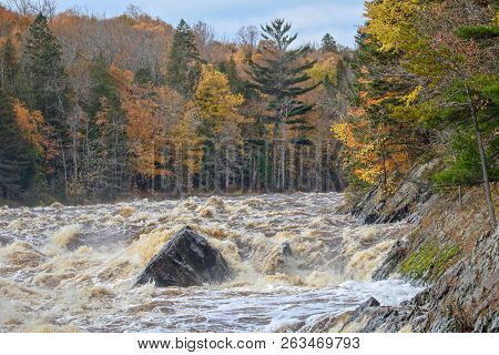St. Louis River Rapids At Jay Cooke State Park In Minnesota In Autumn