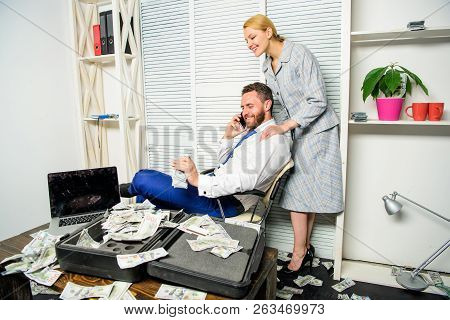 Office Assistant Gives Massage Boss Help Relax. Businessman Rich Bearded Guy Sit Office With Lot Of