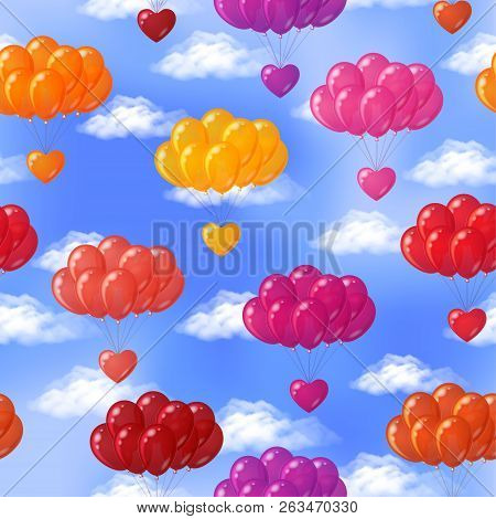 Valentine Seamless Background, Bundles Of Festive Colorful Balloons With Hearts Flying In Blue Sky W