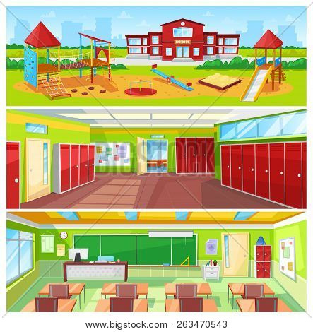 School Interior And Outdoor Yard Colorful Banner, Vector Illustration Of Light Classroom And Huge Ha