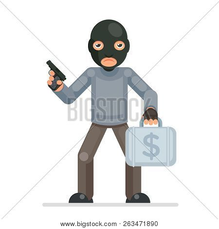 Armed Robbery Stole Money Suitcase Evil Greedily Thief Cartoon Rogue Bulgar Character Flat Design Is