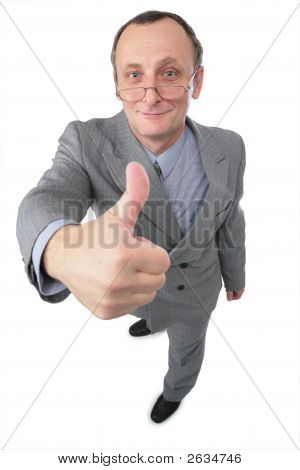 Man In Grey Suit Gives Gesture 2
