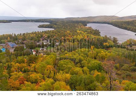 Panoramic View Overlooking Two Lakes And Copper Harbor In Upper Peninsula Of Michigan In Autumn