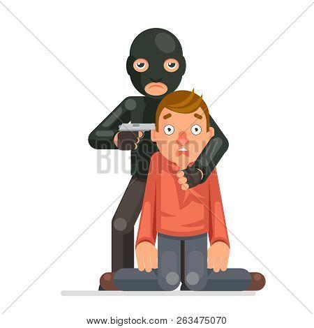 Terrorist Hostage Criminal Thief Gun Character Crime Threat Buyout Request Flat Design Vector Illust