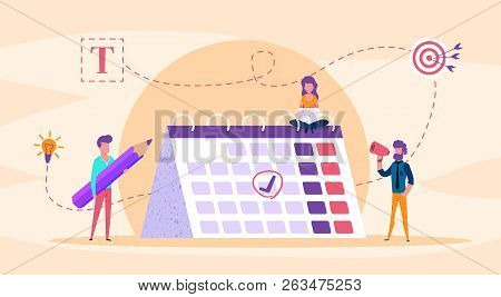 Web Page Illustration Concept. Small People Fill Calendar. With Big Pencil. Time Management Analysis