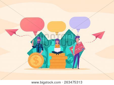 Web Page Illustration Concept. Small People Business Parters Or Customers Speaking  Chatting About M
