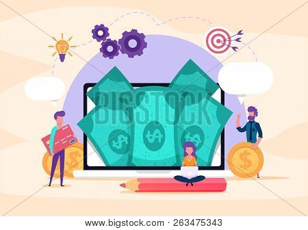 Web Page Illustration Concept. Small People Credit Card, Money, Coins. Investment Business. Online P