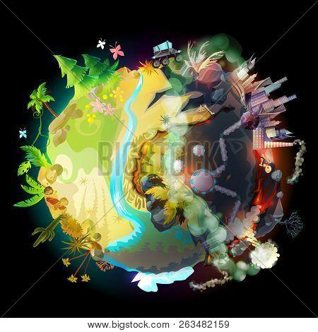 Illustration Of Green Earth, Evolution, Technology Progress And Environmental Destruction, Climate C