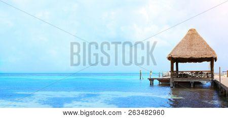 Jetty in Caribbean sea, Cancun, Mexico, America