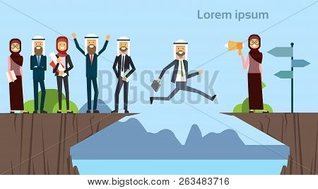 Arab Businessman Jumping Over Obstacles Chasm Go To The Opposite Goal Concept. Business Group Succes