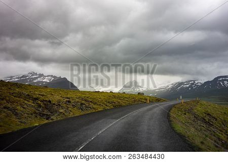 Dangerous Winding Uphill Road In Iceland With A Slight Motion Blur Effect