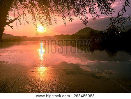Posta Fibreno Lake At Sunset In The Italian Region Of Lazio
