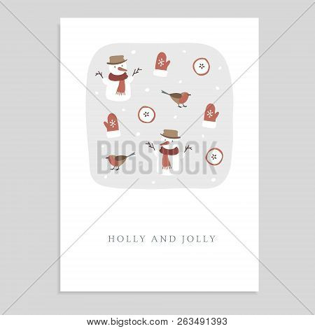 Cute Holly And Jolly Christmas Greeting Card, Invitation With Snowmen, Finch Birds, Glowes, Sliced A