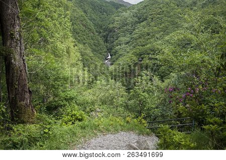 Landscape Image Of Woodland Waterfalls At Devils Bridge, Wales,uk