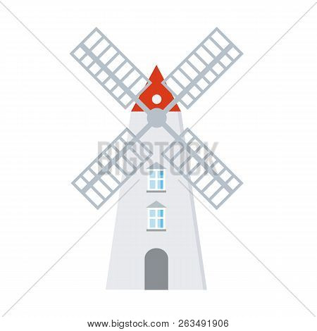 Windmill Icon In Flat Style Isolated On White Background. Vectot Stock.