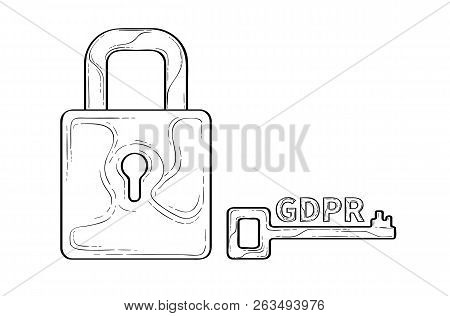 Gdpr Concept Sketch Illustration With Lock And Key