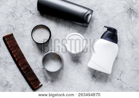 Mens Cosmetics For Hair In Bottle Gray Background Top View