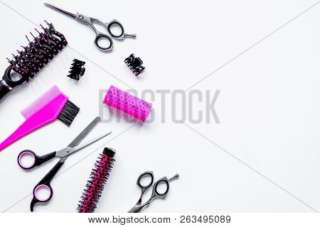 Preparations For Styling Hair On White Background Top View