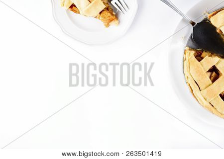 American Apple Pie With Coffee Latte In Glass Irish Mug Isolated On White Background