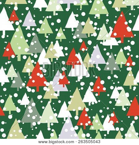 Green And Red Snow Trees Christmas Seamless Pattern. Modern And Festive Design Great For Invitations