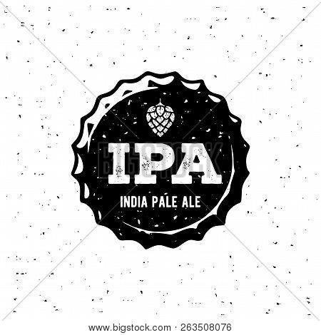 Ipa Cap Grunge White Emblem. Vector Illustration.