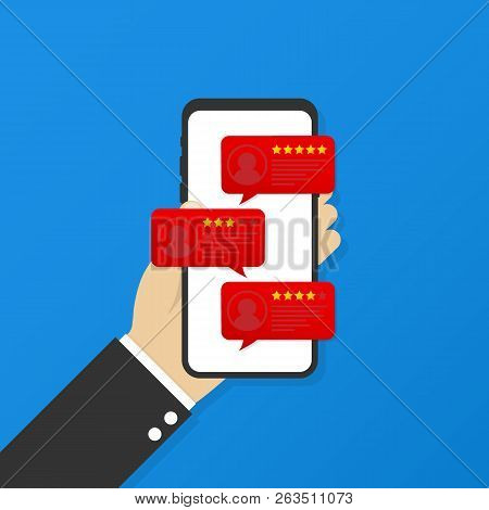 Review Rating Bubble Speeches On Mobile Phone Vector Illustration, Flat Style Smartphone Reviews Sta