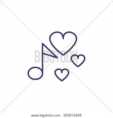 Favorite Song Line Icon. Note, Heart, Love. Romantic Collection Concept. Vector Illustration Can Be