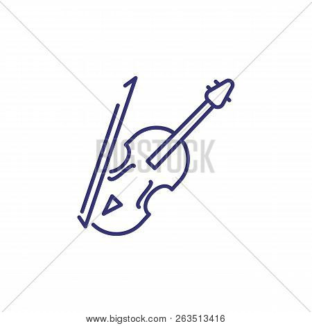 Violin Line Icon. Bow, Fiddle, String. Classical Music Concept. Vector Illustration Can Be Used For