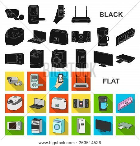 Smart Home Appliances Flat Icons In Set Collection For Design. Modern Household Appliances Vector Sy